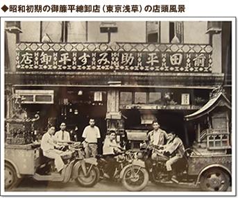 ◆明治時代の御簾平總卸店(東京浅草)の店頭風景 お仏壇の日本堂 平塚店 茅ヶ崎店